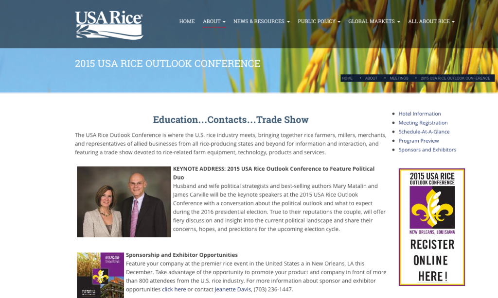USA Rice Outlook Conference heading to Louisiana