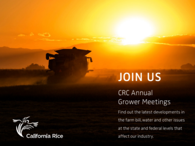 California Rice Commission Annual Grower Meetings to be held in late January